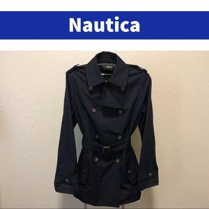 Nautica Double-Breasted Trench Coat with Belt